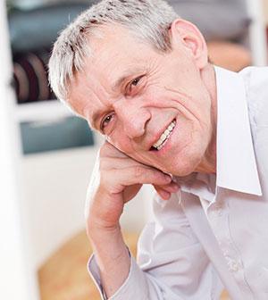 Senior man with immediate dentures